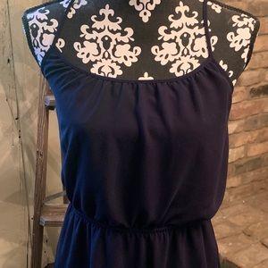 Navy blue chiffon dress.